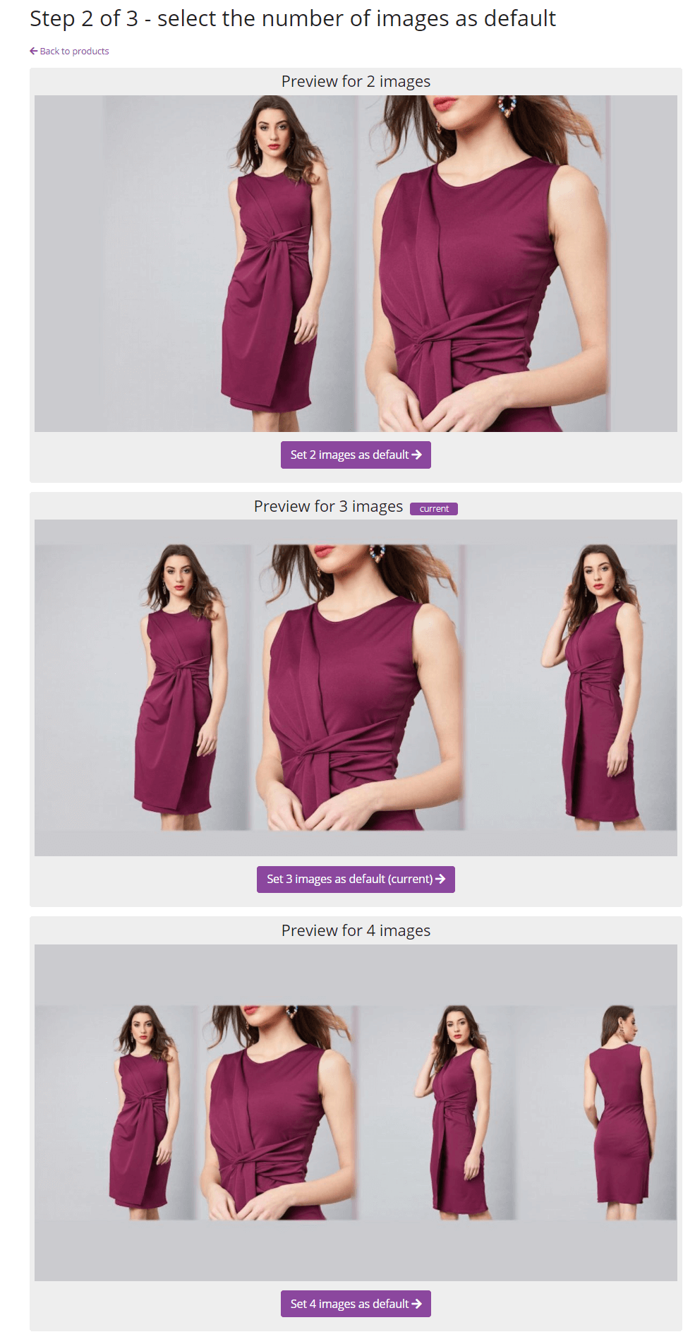 Click to enlarge - You can choose between two, three and four images - this will be your default transformation for all products if you enable automation.                 But don't worry - you can manually create a custom social media image for each product.